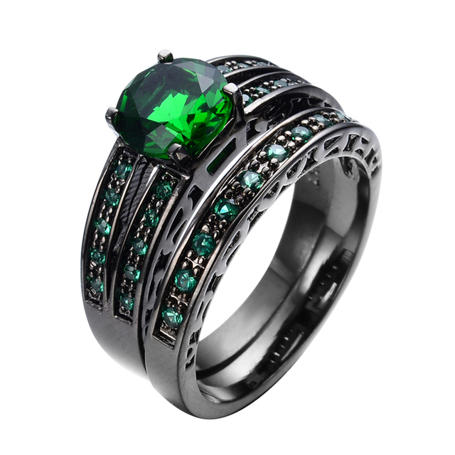 Gorgeous Green Stone Jewelry Women Men Ring Set Wedding Band Black Gold Filled Vintage Engagement