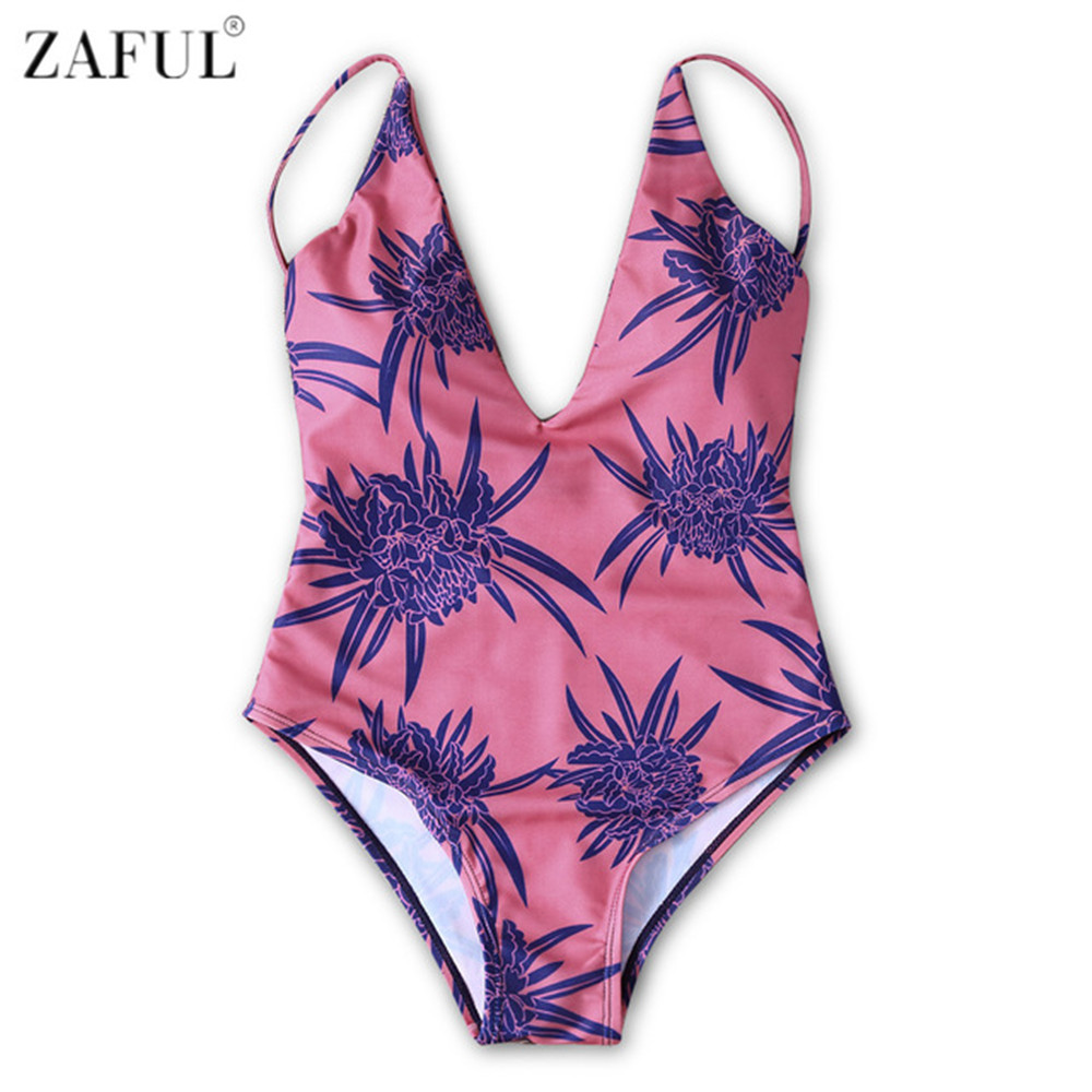 Zaful One Piece Swimsuit Women Swimwear Retro Print Plus Size V-Neck Swimwear 2017 Vintage Bathing Suit Swim Beachwear plus size scalloped backless one piece swimsuit