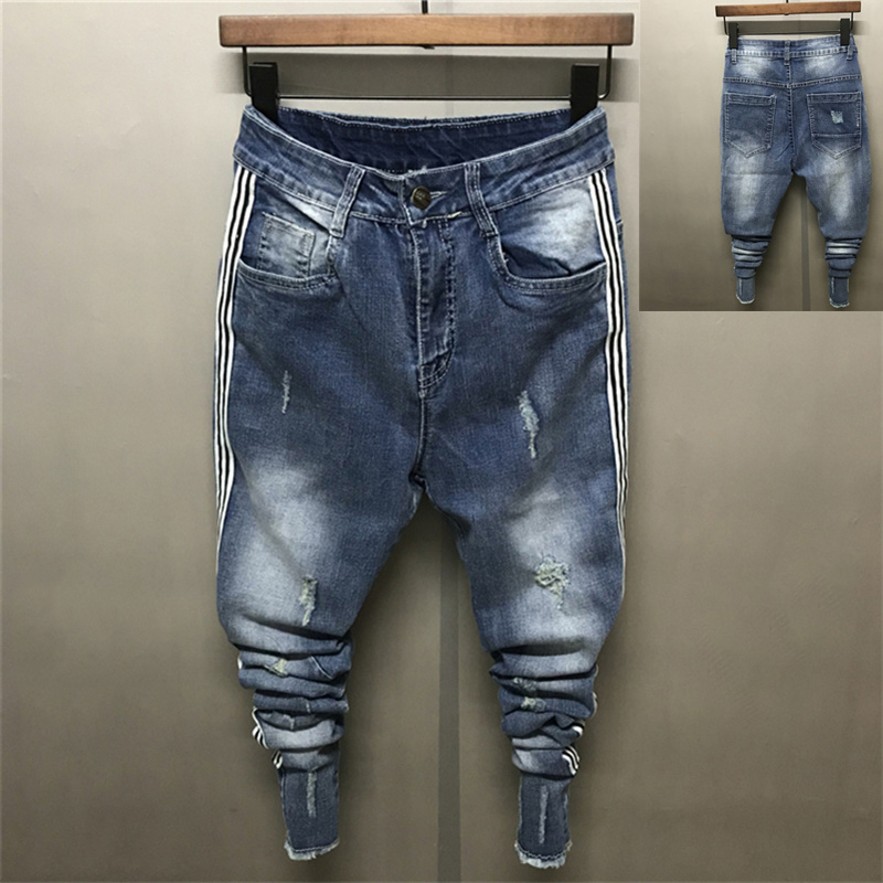 2018 Ins Slim Fit Personality Hole Buckle Mens Jeans Casual All match Ankle-Length Mid Zipper Fly Thin Pants Social Fashion
