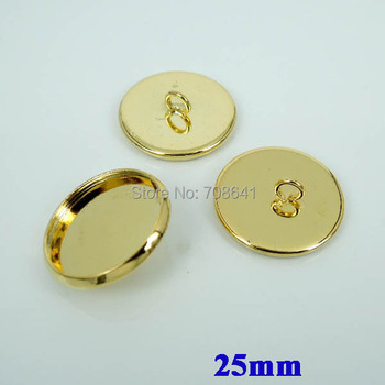 25mm New Golden Plated Blank Bases Cabochons Style Circle Bezel tray Back Loop Buttons Pendant Caps Settings Wholesale