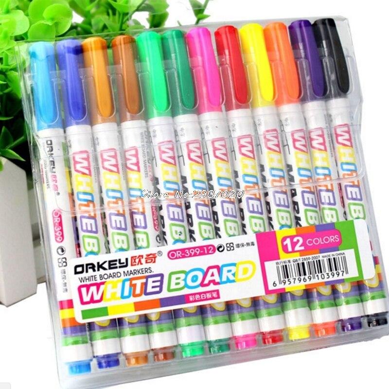 12Pcs New 12 Colors White Board Maker Pen Whiteboard Marker Chalk Erasable  Glass Ceramics Maker Pen Office School Supply