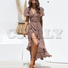 CUERLY Sexy lace up leopard print long dress summer women V neck short sleeve dot plus size Elegant split fashion