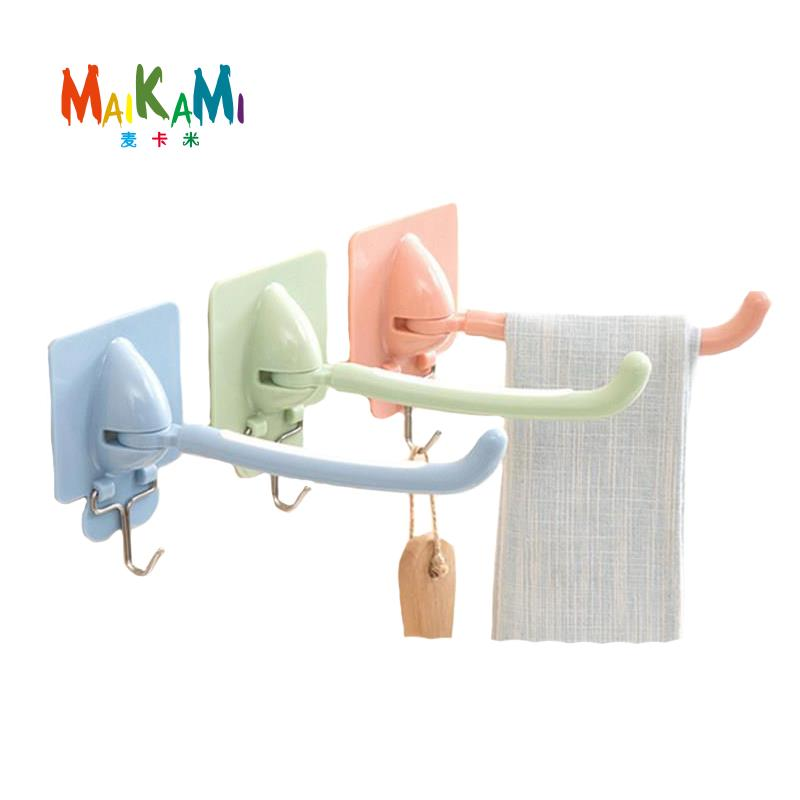 MAIKAMI Plasitc Towel Bar Rotating Towel Rack Bathroom Kitchen Wall-mounted Towel Polished Rack Holder Accessory Dropshipping