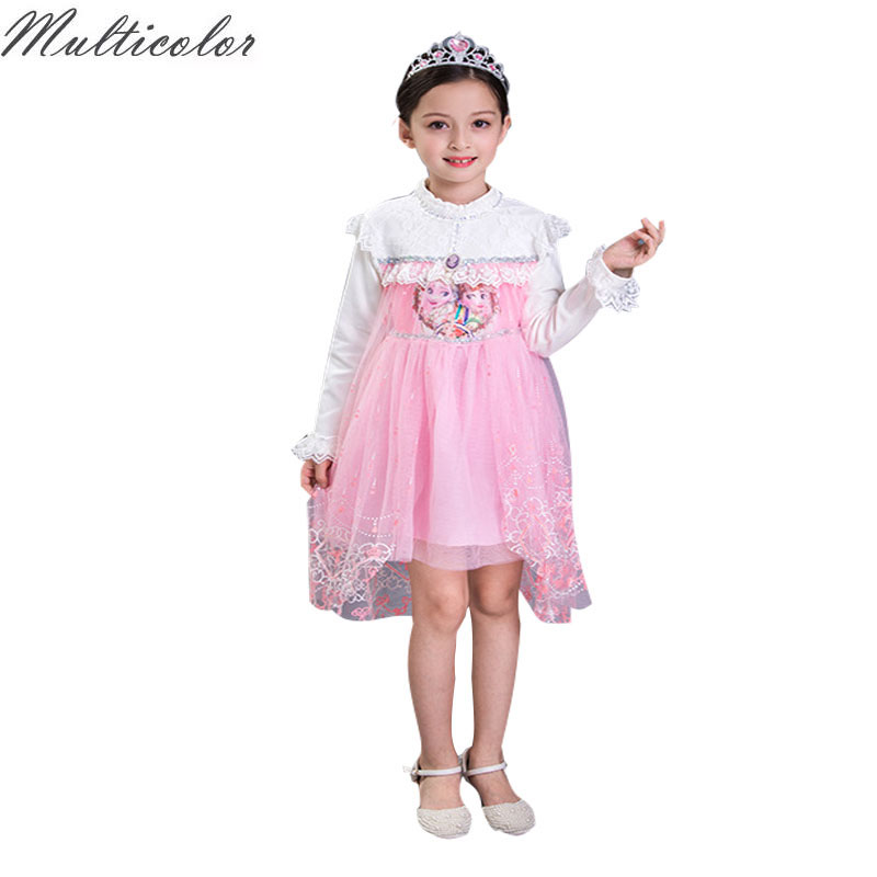 2017 Hot Autumn Baby Girl Dress Princess Vestidos Fever Anna Elsa Dress Birthday Party Dress Children