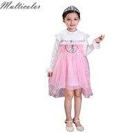 2017 Hot Autumn Baby Girl Dress Princess Vestidos Fever Anna Elsa Dress Birthday Party Dress Children