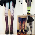 Harajuku Mori Girl Lolita Style Cawaii Vintage Velvet Tights Stockings Print Cat Pantyhose Women Tattoo Tights