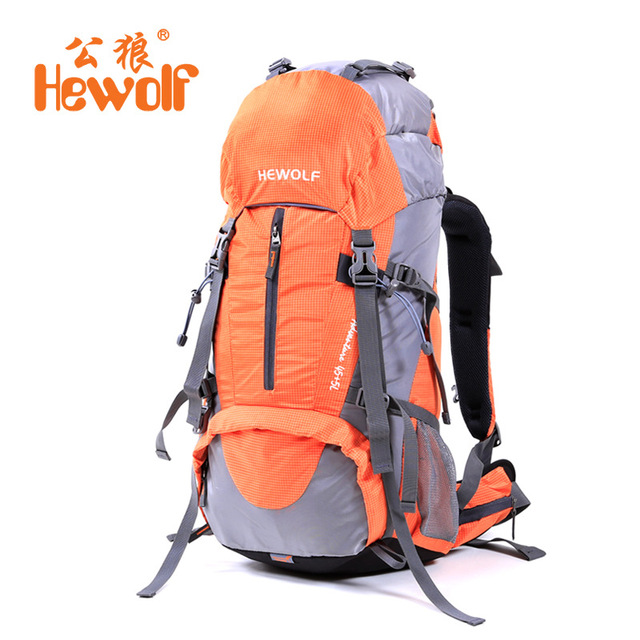 Hewolf Climbing Bag Outdoor Backpack Camping Hiking Backpack Backpacking Trekking Bag with Rain Cover 50L rucksack