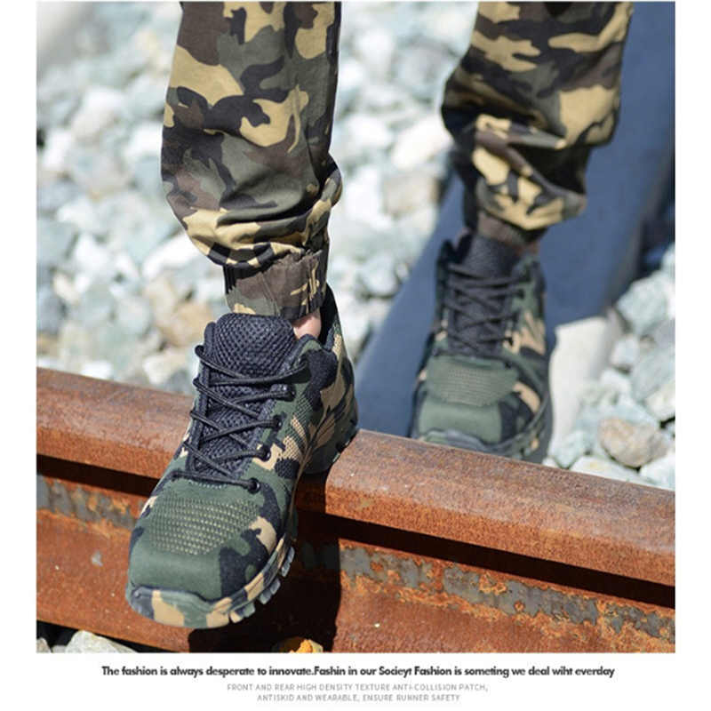 29de079f8bb12 ... FIDANEI Safety Steel Toe Shoes Men Waterproof Work Shoes Puncture Proof  Sneakers Mens Military Army Camo ...
