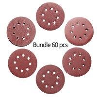 60Pcs Lot 5 Inch 125mm Round Sandpaper Disk Sand Sheets Grit Hook Loop 8 Holes 10