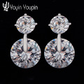 925 Silver fashion exquisite earrings female models two  pieces of crystal to create their own beautiful  factory wholesale