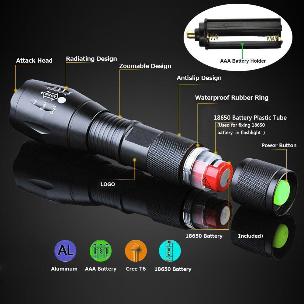 XM-L2 LED T6 Flashlight 8000Lumens Powerful Flash Light Super Bright Torch light for Emergency Outdoor Zoomable 5 ModesXM-L2 LED T6 Flashlight 8000Lumens Powerful Flash Light Super Bright Torch light for Emergency Outdoor Zoomable 5 Modes