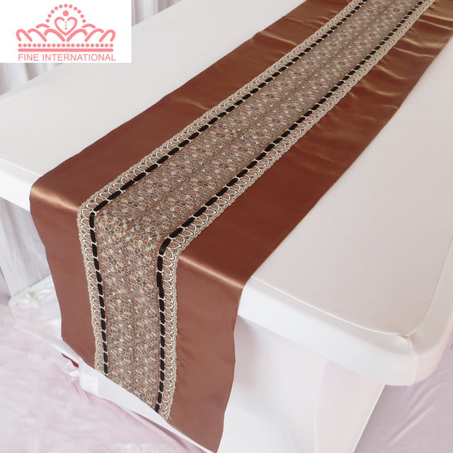 35*250cm Brown Lace Table Runner,Double Side Satin Runner For Wedding,