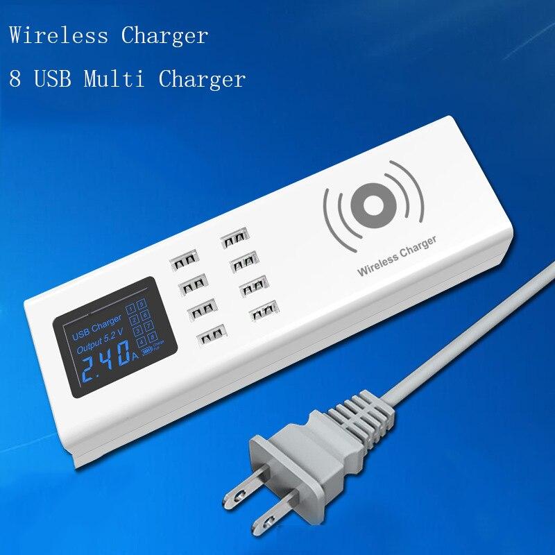 Thbelieve 8 USB Wireless Charger USB HUB Desktop Socket Power Multiple USB Charging Station EU UK US Plug 1.5 M Drop Shipping