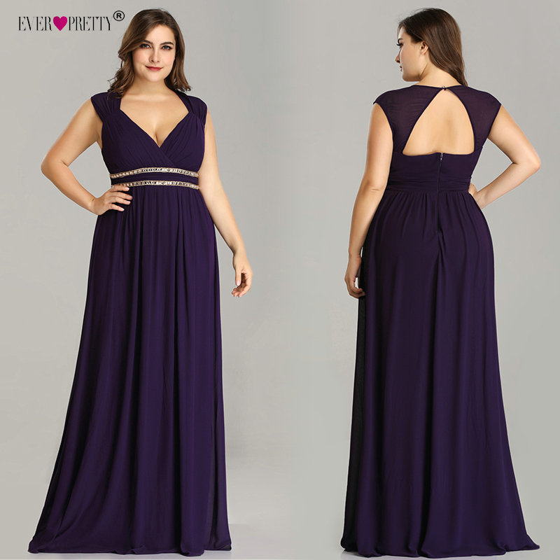 Ever Pretty Plus Size Prom Dresses Long 2020 A-line Chiffon V-neck Sleeveless Cheap Backless Elegant Burgundy Sexy Party Gowns
