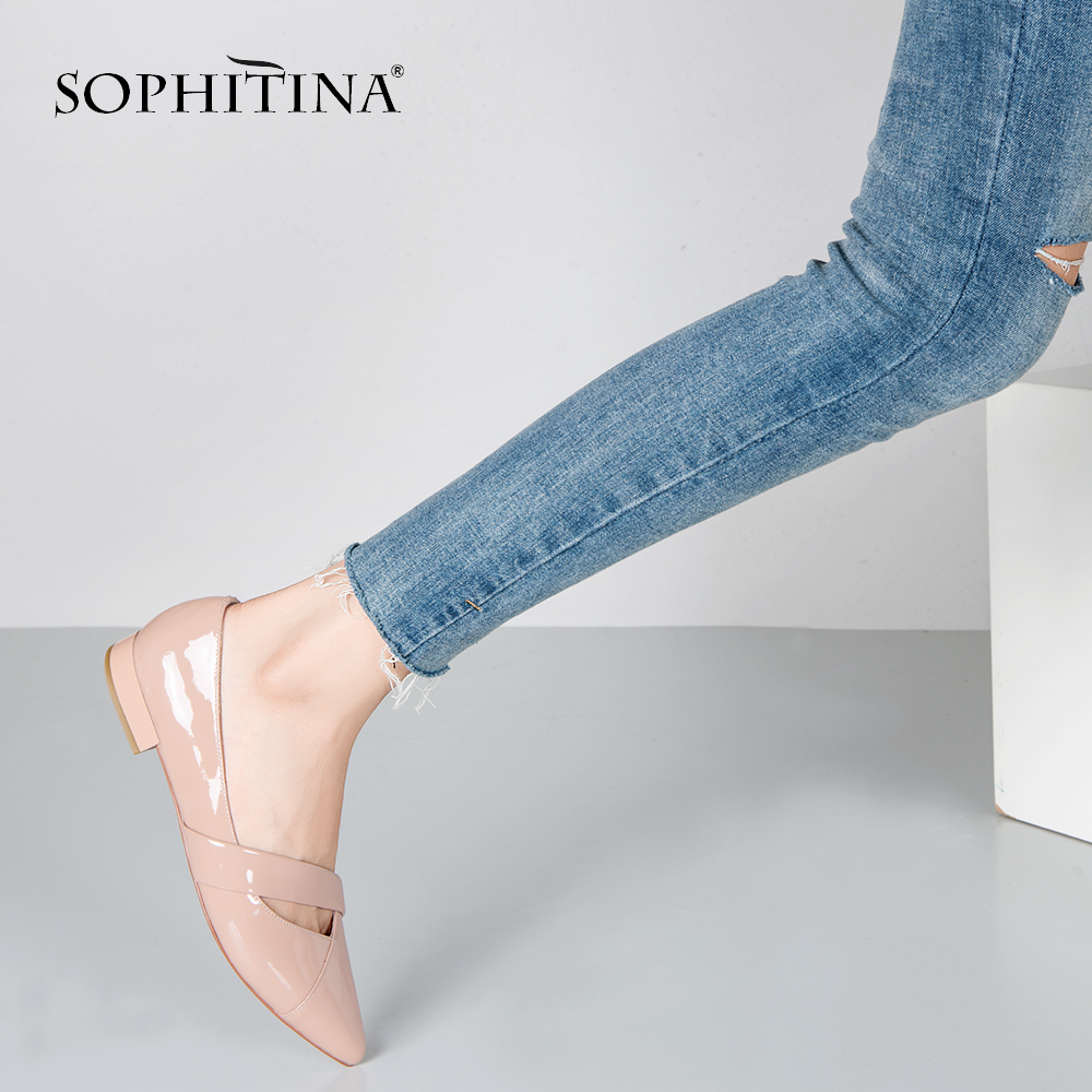 SOPHITINA Comfortable Women Flats Patent Leather Pointed Toe Casual Shoes Spring Summer Pink Slip-on Soft Office Lady Flats P65SOPHITINA Comfortable Women Flats Patent Leather Pointed Toe Casual Shoes Spring Summer Pink Slip-on Soft Office Lady Flats P65