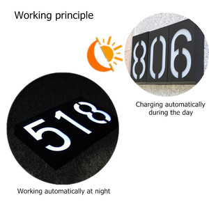 Image 2 - House Number Solar Light LED Bulb Digital Solar Powered Lamp Wall Mount Illumination Doorplate Porch Lights With Battery