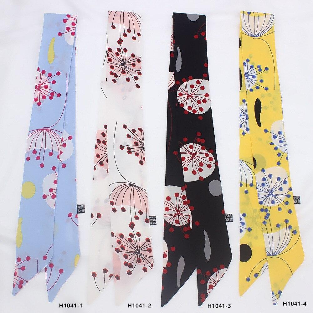 2019 Women Silk Scarf Small Size Long Skinny Neck Hair Silk Scarves Fashion Flowers Print Bag Ribbons Head Scarfs Foulard