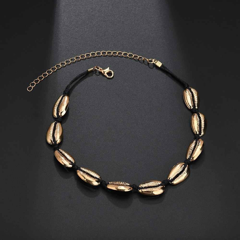 SMJEL Vàng Sliver Vỏ Màu Choker Dây Chuyền Thời Trang Chuỗi Vòng Cổ Màu Đen cho Phụ Nữ Đồ Trang Sức Ngắn Chockers Cổ Áo