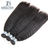 Amanda 3 Gói Thô Malaysia Straight Yaki Tóc Người Dệt Bó 100% Chưa Qua Chế Biến Human Hair Extensions Natural Color