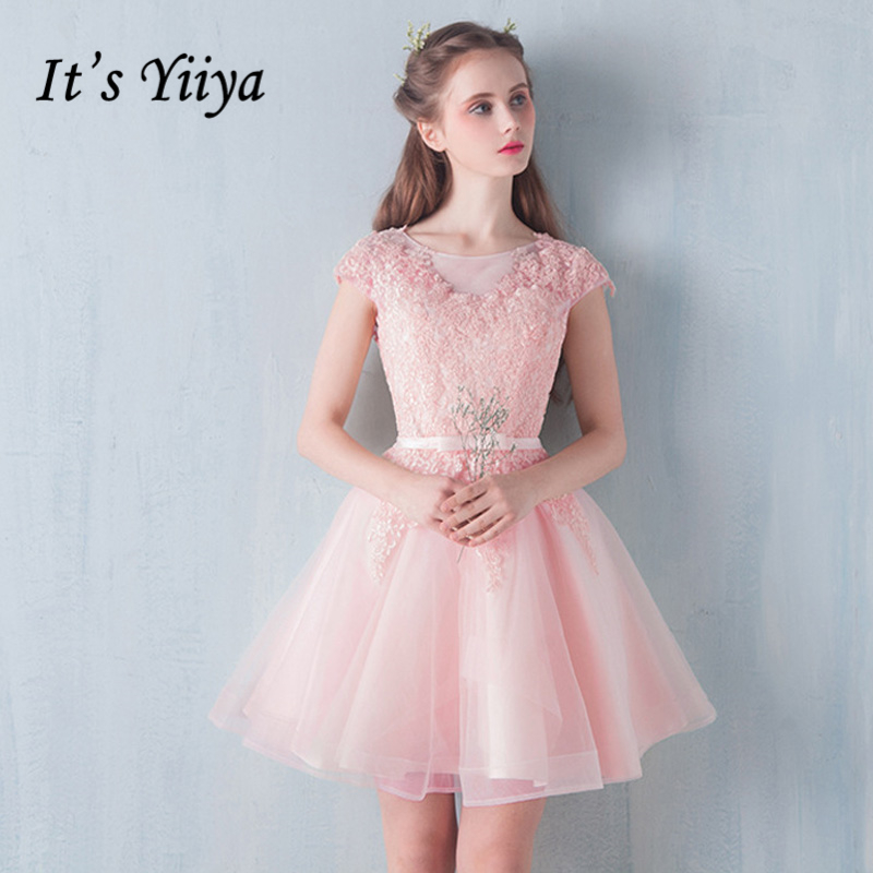 It's YiiYa 2018 New O-Neck Simple Knee Length Dinner   Bridesmaid     Dresses   Party Short Formal   Dress   LX246