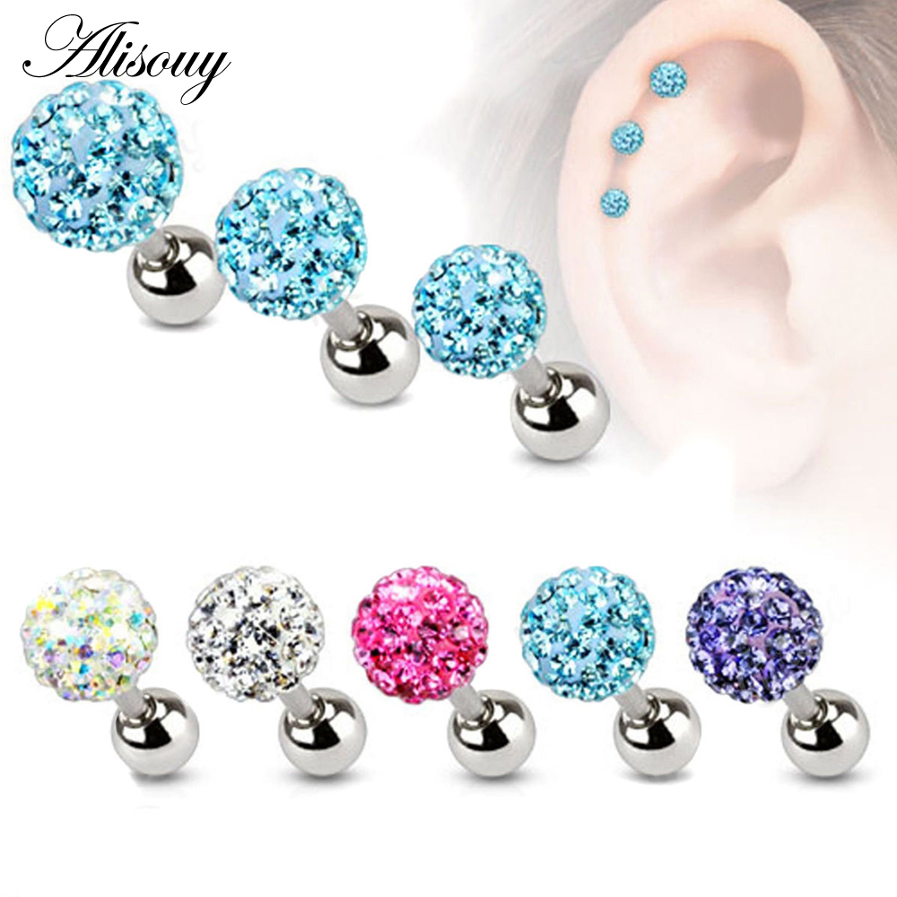 Alisouy 2PCS 3 4 5mm Trendy Crystal Ball Earrings Surgical Steel Ear Plugs Women's Ear Studs Screw back Body Piercings Jewelry