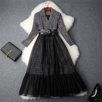 Brand Runway Designer 2018 Winter Dress Women Notched Collar Belted Vintage Office Dress Midi Tweed Woolen Patchwork Tulle Dress
