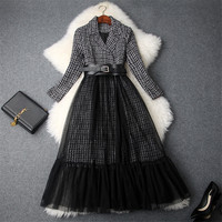 Brand Runway Designer 2018 Winter Dress Women Notched Collar Belted Vintage Office Dress Midi Tweed Woolen Patchwork Tulle Dress
