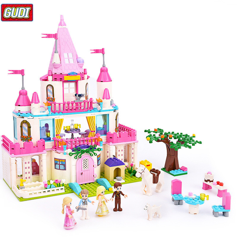 GUDI Princess Sweet Castle Blocks 616pcs Bricks Model Building Set Educational Toys For Girls детское лего gudi