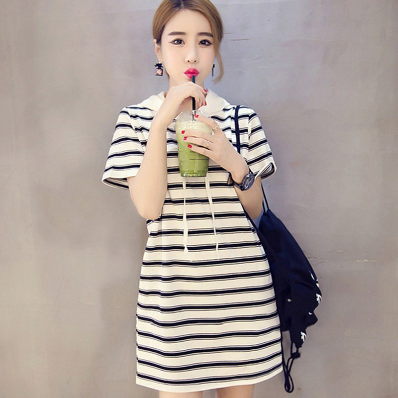 2019 Women Dress Straight Fashion <font><b>Sexy</b></font> Striped Dress <font><b>Vestidos</b></font> <font><b>Verano</b></font> <font><b>2018</b></font> Thin Mid-length Long Hooded Bat Sleeve Summer Dress image