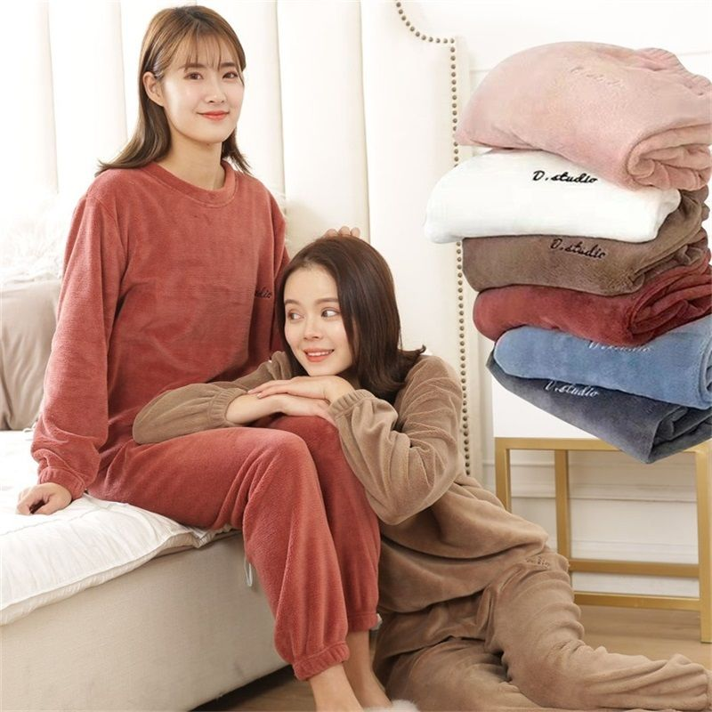 Autumn and Winter Flannel Women Pyjamas Sets Sleepwear Home Clothing Thick Warm Coral Velvet Female Nightgown Suit Pijama 25