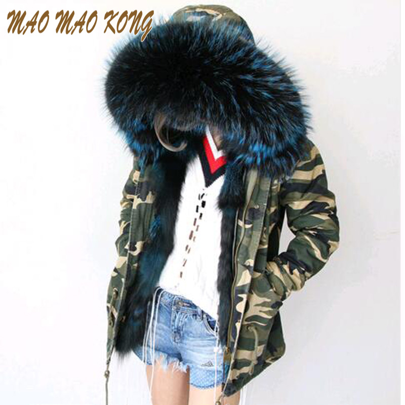 2018 new long Camouflage winter jacket women outwear thick parkas natural real fox fur lining coat hooded pelliccia