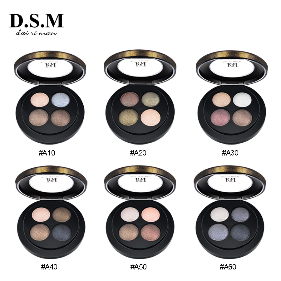 D.S.M Brand New Mineralize Eyeshadow 4 Colors Waterproof Eye Shadow Makeup Metallic Luminous Makeup Shades Eyeshadow Pallete