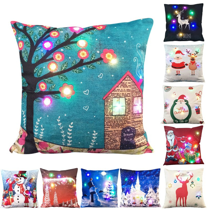 Creative Pillowcase Christmas LED Lights Lit Pillow Cushions Velvet Pillowcase Happy Fes ...