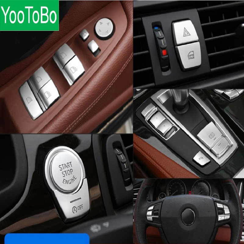 Car Interior Accessories ABS Chrome Button Cover Stickers For BMW F10 F07 F06 F12 F13 F01 F02 F20 F30 F32 Car Styling