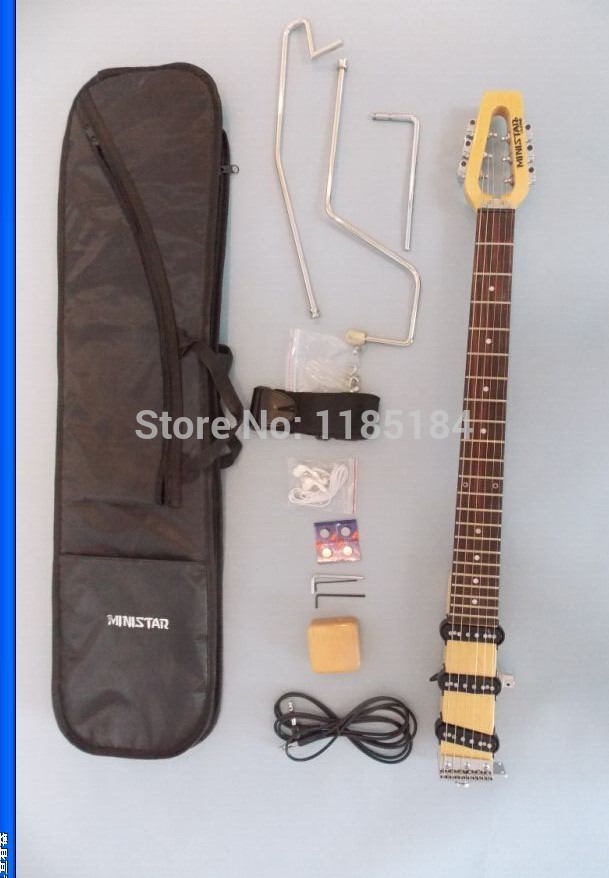 free shipping ministar castar travel guitar built in headphone amp electric guitar including bag. Black Bedroom Furniture Sets. Home Design Ideas