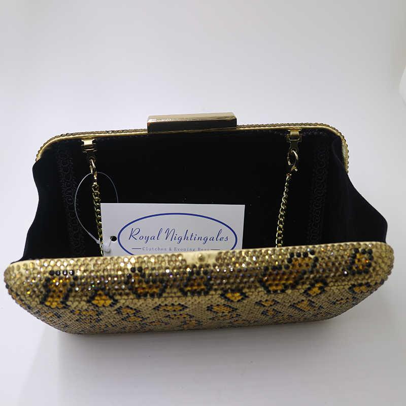 Королевский Nightingales большой жесткий ящик кристаллы клатч и золотые вечерние сумки