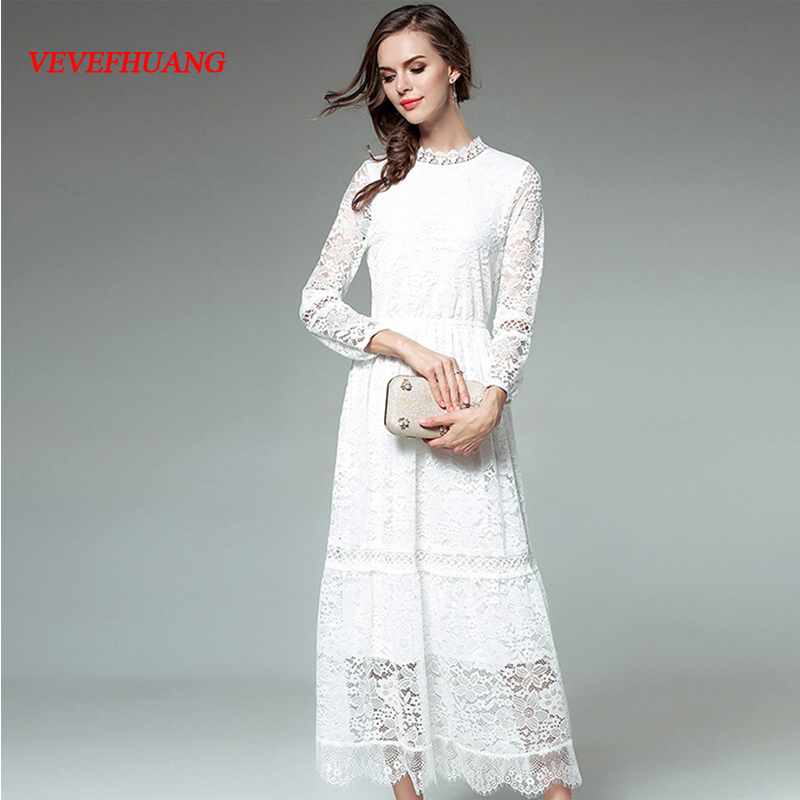 NEW Hollow Out Woman Elegant Lace Dress Ruffles Collor Full Sleeve Autumn Female Causal A-Line Party Dress