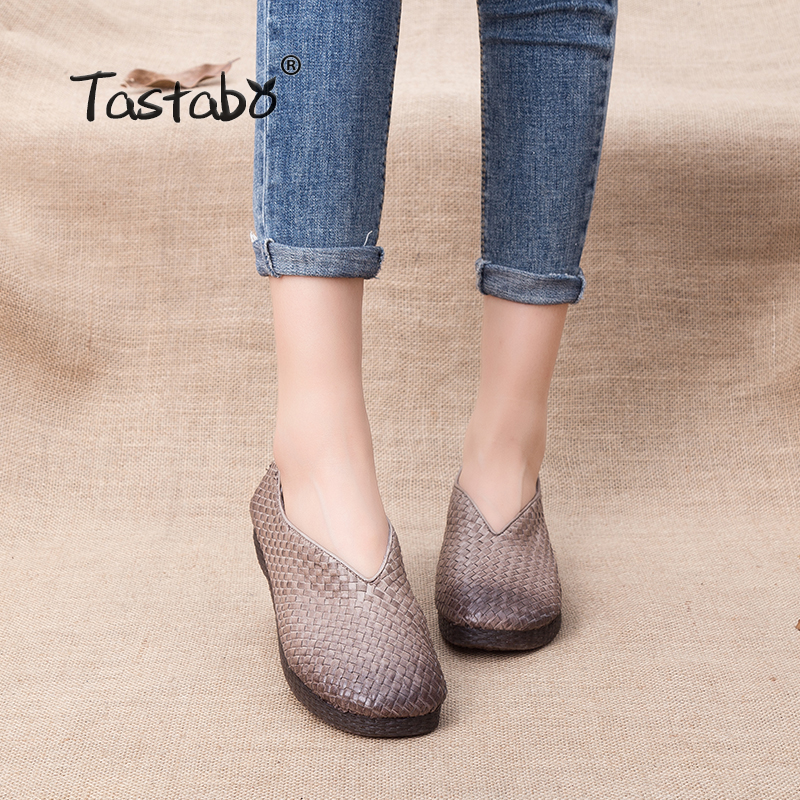 Tastabo Fashion Genuine Leather Loafers Women Shoes Handmade Comfortable Weave Solid Brown Women Flats Casual Shoes x9055 1 casual genuine leather flats shoes elevate high 6cm for fashion boys match jeans color brown black sz37 43