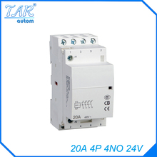 4P 4NO  24V 20A Modular Normally Closed Contactor with electric machincal types of contactor  Din rail Household ac contactor стоимость