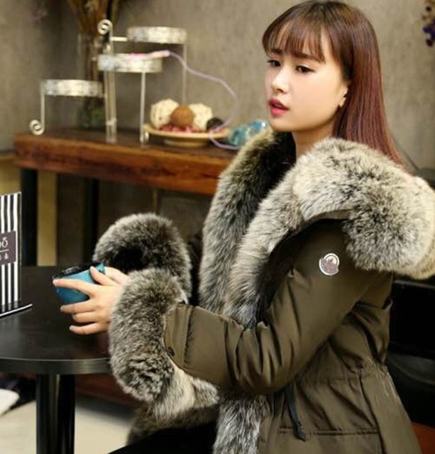 Super Big Real Silver Fox Fur Collar Long Down Jacket Fur Hood ...