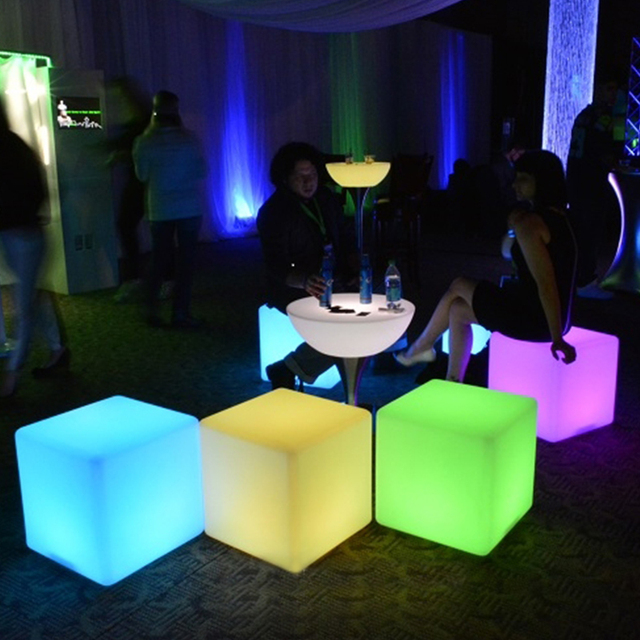 Night Club Outdoor Inflatable Decoration Party LED Cube/LED Chair/LED Bar  Table 20cm