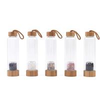 550ML 750ML Bamboo Lid Glass Water Bottles Amethyst Healing Crystals Stones Infuser Water Bottle Clear Gem Stone Elixir Quartz