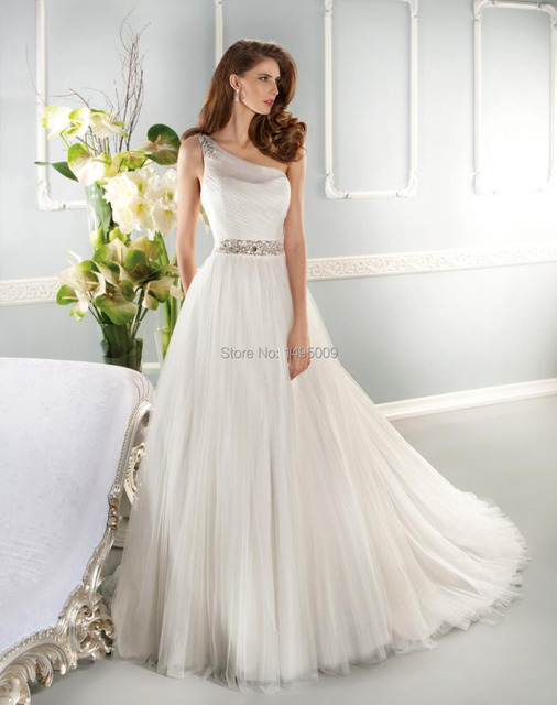 b5423f637668 One Shoulder Wedding Dress With Beads A Line Simple Bride Dress Available  Big Size
