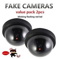Value Pack 2pcs Dummy CCTV Camera Flash Blinking LED Fake Camera Security Simulated Video Surveillance Fake