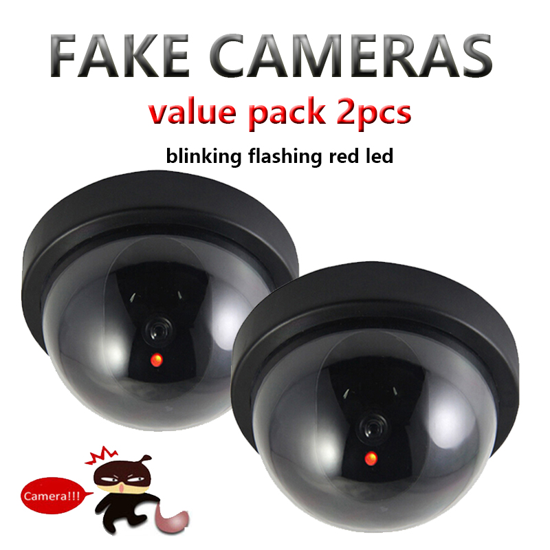 Value Pack 2pcs Dummy CCTV Camera Flash Blinking LED Fake Camera Security Simulated video Surveillance fake camaras de seguridad image