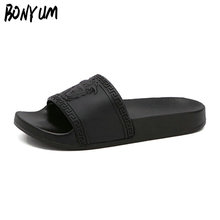 BONYUM Brand Slippers Women Men Flat Slides Summer Casual Beach Flip Flops Shoes Non-slip Indoor House Home Slippers 36-44 T4626(China)