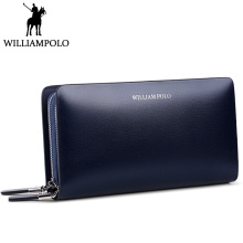 hot deal buy williampolo 2018 men's clutch wallet blue double zipper handy bag genuine leather organizer wallet fashion male gift clutches