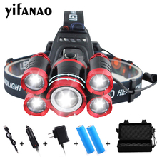 цена на 4000Lums Ultra Bright LED Headlamp 5*T6 LED Headlight 4 mode Zoom Head lamp Rechargeable Forehead Light Use 2*18650 Battery