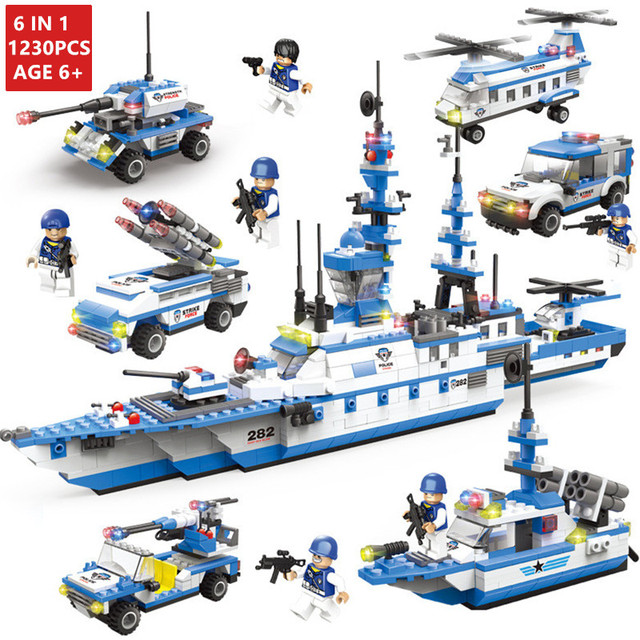 1230 Pcs Kapal Perang Militer Transportasi Pesawat Blok Bangunan Legoingls Polisi Kota Mobil Truk Tentara Tentara WW2 Batu Bata Mainan Anak