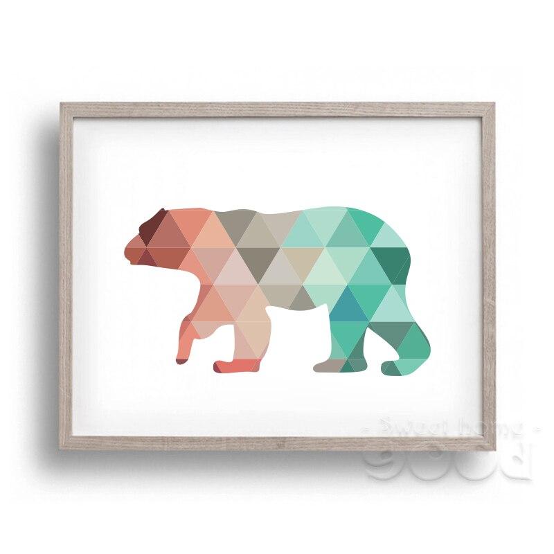 ̀ •́ Geométrica del arte de la lona del oso polar cartel, cuadros de ...